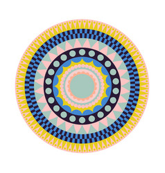 Round tribal rug with colorful shapes vector