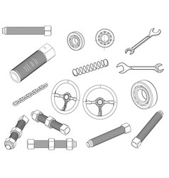 rudder bolt bearing wrench chain vector image