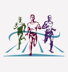 running athletes symbol sport and competition vector image