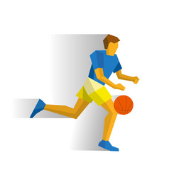 running basketball player isolated on white vector image