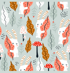seamless jungle pattern with bunny mushrooms and vector image