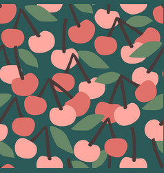 seamless pattern with cherry trendy hand vector image