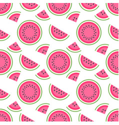 Seamless pattern with pieces of sweeet watermelon vector