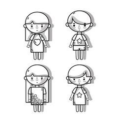 Set children with hairstyle and pijamas vector