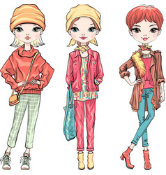 Set fashion girl in autumn clothes vector