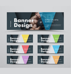 set horizontal web banners with triangular vector image