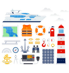 set marine boat equipment flat vector image