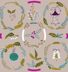 Set of Christmas and New Year wreath and other vector image