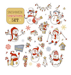 Set of cute snowmen vector