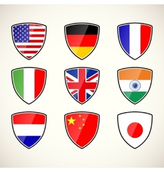 Set of shields with flags vector
