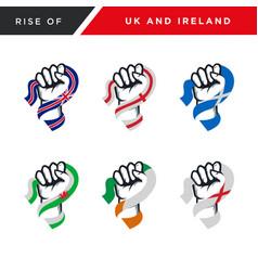 Spirit rising fist hand uk and ireland flag vector