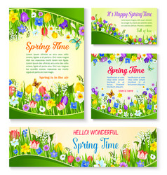 Spring flower greeting card and banner template vector