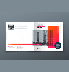 Square brochure design orange corporate business vector