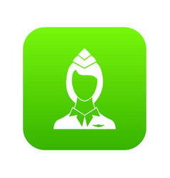 stewardess icon digital green vector image
