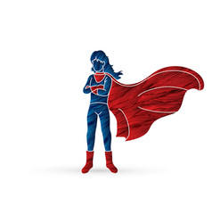 super hero woman standing with costume cartoon vector image