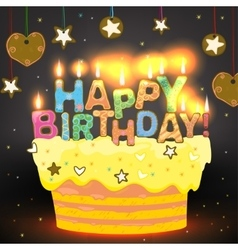Sweet Happy Birthday Cake vector image