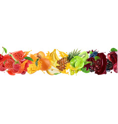 Sweet tropical fruits and mixed berries splash vector