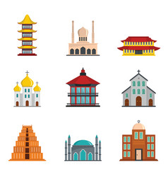 Temple tower castle icons set flat style vector