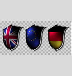 Three shields with flags vector
