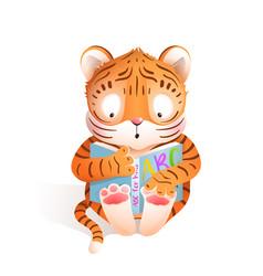 Tiger cub reading book cute kids animal cartoon vector