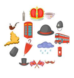 united kingdom travel icons set cartoon style vector image