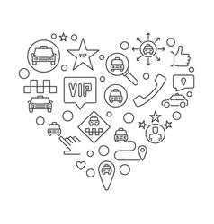 Vip taxi heart concept linear vector