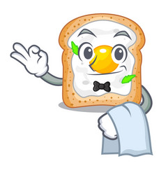 Waiter sandwich with egg above character board vector