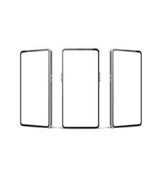 white frameless smartphone mockup set 3d vector image