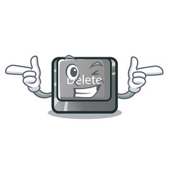 Wink cartoon delete button located on keyboard vector