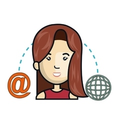 woman avatar and social media design vector image