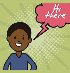 young afro man and speech bubble with hi there vector image