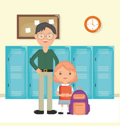 young male teacher with student girl in school vector image