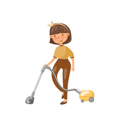 young woman in casual clothing cleaning the floor vector image