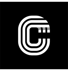 Capital letter C Made of three white stripes vector image vector image