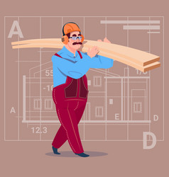 cartoon builder holding planks wearing uniform and vector image vector image