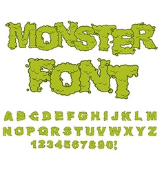 Monster font Horrible Alphabet letters of green vector image vector image