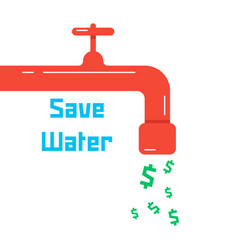 save water with red faucet vector image vector image