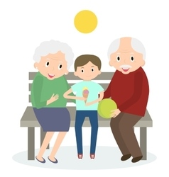 Senior people happy leisure time with grandson vector image vector image