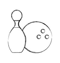 sketch draw pin and ball cartoon vector image