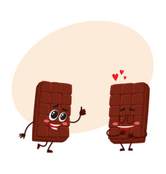 two chocolate bar characters showing thumb up vector image
