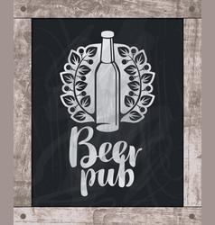 beer bottle drawing chalk on board in wooden frame vector image vector image