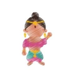 indian woman dancing cartoon design vector image