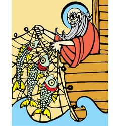 Noah fishing vector image vector image