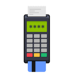 payment pos terminal with card flat style icon vector image