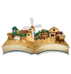 A book with an image of a village and wooden vector image vector image