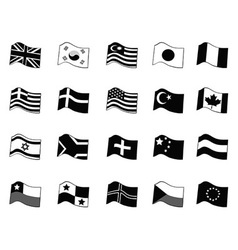 black country flags icon set vector image vector image
