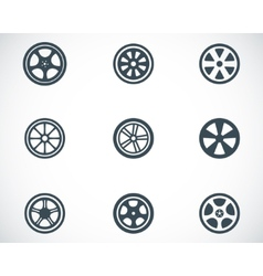 black wheel disks icons set vector image