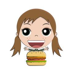 cartoon girl eating burger vector image vector image