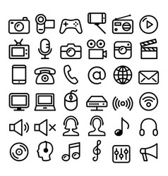 communication media modern technology line icons vector image