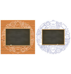 empty chalkboard on school supplies background vector image